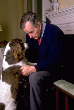 Former president George H.W. Bush enjoys some face-to-face time with his wife Barbara's springer spaniel, Millie, in Houston. The Bushes also kept one of Millie's puppies, Ranger, as a pet.