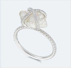 natural rough diamond ring with micro pave diamond http://www.weddingchicks.com/2013/10/01/diamond-in-the-rough/