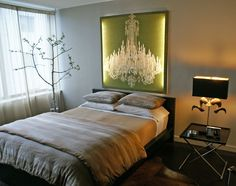 okay, maybe this is more realistic: a beautiful image of a chandelier over the headboard of the bed!!