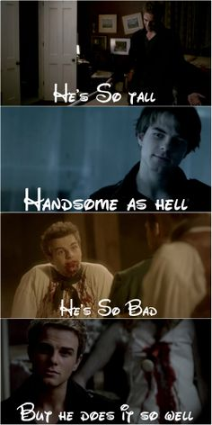 Pics of Semi-Evil Vampire Kol from TVD, accompanied by lyrics from Taylor Swift, written in Disney Font.... whoever came up with this needs a high-five. lol