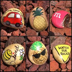 Rock art * rock painting * car * pineapple * candy * be kind * watch for ro Pebble Painting, Car Painting, Pebble Art, Stone Painting, Seashell Painting, Painting Videos, Rock Painting Patterns, Rock Painting Ideas Easy, Rock Painting Designs