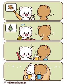 Chillin' together 🍵 Chibi Cat, Kawaii Chibi, Cute Chibi, Cute Love Pictures, Cute Love Gif, Cute Couple Cartoon, Cute Love Cartoons, Gif Mignon, Bear Instagram
