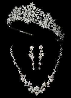 Majestic Crystal and Pearl Wedding Tiara and Matching Jewelry Set - Affordable Elegance Bridal -