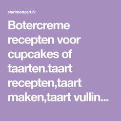 Botercreme recepten voor cupcakes of taarten.taart recepten,taart maken,taart vulling,startmettaart.nl .recepten, tips,uitleg, taart en meer.