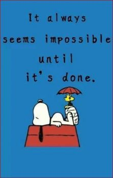 It Always Seems Impossible Until It's Done - Snoopy Lying on Top of His Doghouse With Woodstock Sitting on Snoopy's Foot in a Cast While Holding an Umbrella Charlie Brown Quotes, Charlie Brown And Snoopy, Peanuts Quotes, Snoopy Quotes, Peanuts Cartoon, Peanuts Snoopy, Snoopy Cartoon, Snoopy Comics, Peanuts Comics