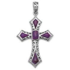 Ornate sterling silver and reconstituted dyed purple turquoise cross pendant. The pendant measures 29mm x 55mm. .925 Sterling Silver Reconstituted Dyed Purple Turquoise Cross Earrings Item #: 65396---