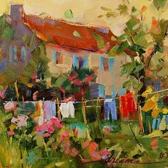 """French Countryside Laundry"" 6"" x 6"" - Dreama Tolle Perry"
