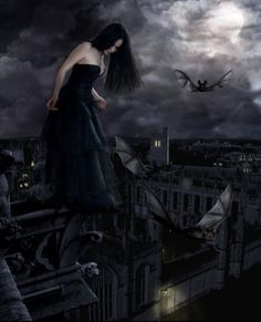 There comes a time at the first full moon that a new vampire must take the leap of faith, trust in her new wings and fly! First Flight Gothic Pictures, Dark Pictures, Dark Beauty, Gothic Beauty, Beautiful Dark Art, Gothic Fantasy Art, Girl Background, Ange Demon, My Fantasy World