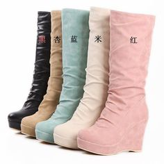 New Arrival Scrub Gaotong Boots Women Shoes Platform High Heels Wedges Platform Plus Velvet Snow Boots Platform Shoes