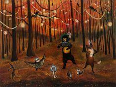 Autumn Spendor woodland forest friends nursery art by JahnaVashti
