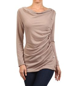 Loving this Khaki Button-Accent Boatneck Top on #zulily! #zulilyfinds