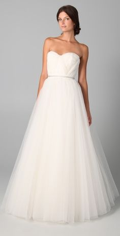 Reem Acra Virtue Strapless Gown. This would be a gorgeous wedding dress.
