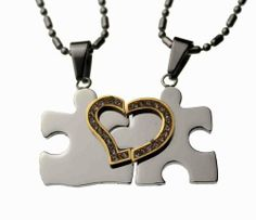 """Lovers /Couple Puzzle Split Heart Pendant Set, Stainless Steel Rainbow Silver Jewelry. $29.97. Total weight: 11.98 grams.. Each Size: 3/4"""" length x 3/4"""" width. Two (20"""" & 24"""" long"""")  Fine Stainless steel chain included. High quality 304L stainless steel. Puzzle Split heart, with CZ stone. Save 73% Off!"""