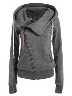 Casual Style Solid Color Long Sleeves Women's Hoodie - DEEP GRAY M