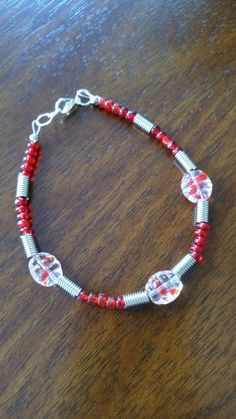 Red bracelet with spiral spacers