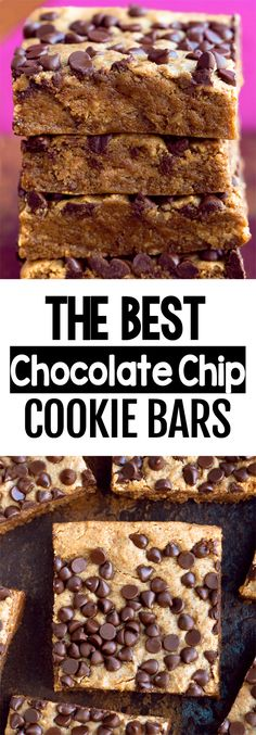Secretly Healthy Chocolate Chip Cookie Bars Healthy Cookies, Healthy Dessert Recipes, Vegan Desserts, Easy Desserts, Baking Recipes, Snack Recipes, Vegan Treats, Sweet Recipes, Cookie Recipes