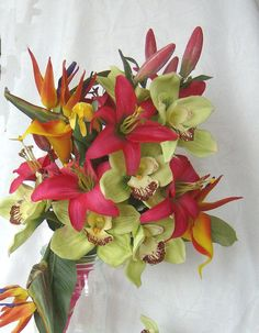 Tropical wedding bridal bouquets matching by ChurchMouseCreations
