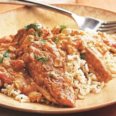 One of the most popular Indian dishes in the U.S. and the U.K., chicken tikka masala usually involves several steps including marinating and grilling the chicken before simmering in a curried tomato cream sauce. We've simplified it to a one-skillet dish and lightened it by increasing the vegetables, omitting the butter and using less cream. Serve with brown basmati rice and, for dessert, dates.