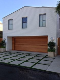 Modern Shingle Style Beach House,  Love the garage door! also driveway pavers w/moss or grass GiannettiHome.com