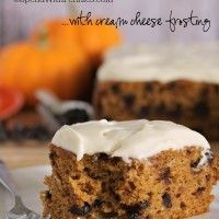 Chocolate Chip Pumpkin Cake with cream cheese frosting!