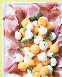 Cantaloupe and Mozzarella with Prosciutto and Basil Recipe | Cooking | How To | Martha Stewart Recipes