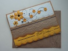 Beautiful Best Wishes card - Die cut scalloped border with dry embossed scalloped layering with matching dry embossed envelope.
