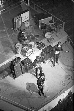 The Beatles on stage. What year though?