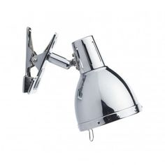 A super collection of versatile clip on spotlights that can simply be plugged into the nearest socket and clipped onto a shelf or table to provide a directional reading or study light. Super retro styling and shown here in the polished chrome finish. The fitting is double insulated. Dar Lighting, Home Lighting, Modern Lighting, Kitchen Lighting, Plug In Wall Lights, Wall Spotlights, Table Lamps For Bedroom, Bedside Table Lamps, Bed Lamps