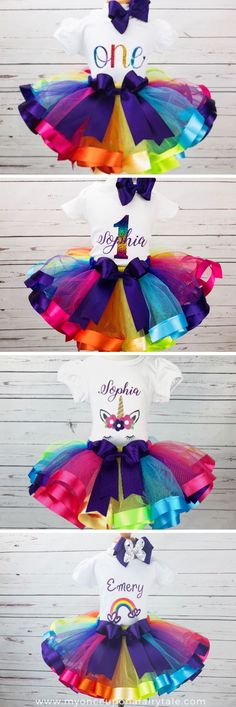 Looking for the perfect Rainbow tutu outfit to celebrate your baby or little girl's birthday? Once Upon a Fairy Tale offers variou. 1st Birthday Tutu, Rainbow Birthday Party, Birthday Party Outfits, Little Girl Birthday, Birthday Gifts For Girls, Unicorn Birthday Parties, Unicorn Party, Birthday Ideas, Rainbow Tutu