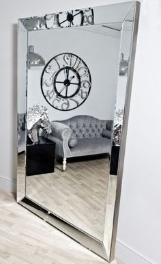 An extra large beveled edge square deco style . A simple mirror with clean lines with a glass tray frame Glam Living Room, Living Room Mirrors, Living Room Decor, Bedroom Decor, Living Rooms, Make A Closet, Simple Closet, Black Rooms, White Rooms