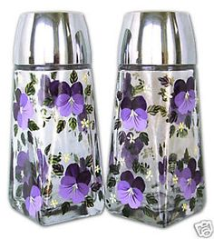 purple salt and pepper shakers | Details about Hand Painted Glass PURPLE PANSY Salt & Pepper Shakers