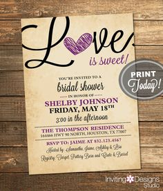Bridal Shower Invitation, Love is Sweet, Black, Purple, Rustic, Tan, Candy Theme, Printable File (Custom Order, INSTANT DOWNLOAD) by InvitingDesignStudio on Etsy