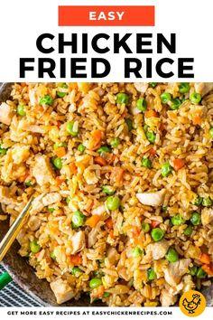 Easy Chicken Fried Rice Recipe - Easy Chicken Recipes {VIDEO!!!} Chicken Fried Rice Recipe Easy, Easy Rice Recipes, Yummy Chicken Recipes, Fried Rice With Chicken, Asian Recipes, Best Fried Rice Recipe, Chicken And Rice Dishes, Beans Recipes, Cookie Recipes
