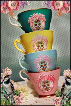 Sugar skull cups- because I want my tea in pretty cups with skulls.