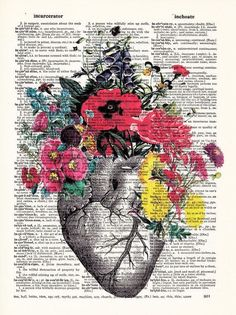 Sale Anatomical Heart and Flowers- Human Anatomical Heart Poster-Heart and Flowers Print- Science Gi Flower Prints, Flower Art, Human Anatomy Art, Heart Poster, Illustration Botanique, Heart Wall Art, Science Gifts, Medical Art, Dictionary Art