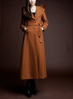 Dark Orange Wool coat women's long Coat women dress coat with hair collar Autumn Winter Spring--CO126