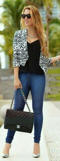 women's spring autumn short blazer jacket+Sexy V neck black Shirt+skinny denim jean pants