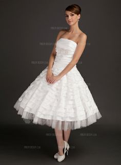 Wedding Dresses - $195.99 - A-Line/Princess Strapless Tea-Length Satin Tulle Wedding Dress With Ruffle Lace Beading (002015544) http://amormoda.com/A-line-Princess-Strapless-Tea-length-Satin-Tulle-Wedding-Dress-With-Ruffle-Lace-Beading-002015544-g15544