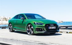 Download wallpapers Audi RS5 Coupe, 2018, green sports coupe, tuning, German cars, Audi