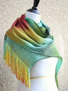 Hand woven long scarf with gradually changing colors from green to mint, yellow and red. Amazing color shades and color.