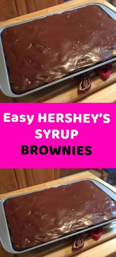 Easy HERSHEY'S SYRUP BROWNIES  When easy meets delicious, good things happen. This easy chocolate brownie recipe is a game-changer. Once you've tried these brownies made with HERSHEY'S Chocolate Syrup, you'll never go back to boxed brownie mix again...I have been making these Chocolate Syrup Brownies for decades. As did my mom. Super moist and tender, each bite immediately melts in your mouth. In fact, they're so rich and gooey, it's best just to place the jelly roll pan on the counter or… Cookie Desserts, Easy Desserts, Delicious Desserts, Cookie Bars, Brownie Recipes, Cookie Recipes, Dessert Recipes, Dessert Ideas, Hershey Syrup