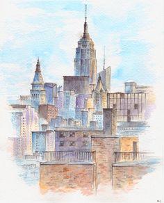 Stadtansicht-Malerei. New York-Malerei. New York City. NYC-Malerei. Aquarell. Urban-Skizze.  Original. 8 x 10