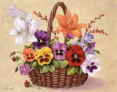 Pansies and Lilies Basket (*) Flower Images, Flower Art, Fabric Painting, Painting & Drawing, Illustration Blume, Etiquette Vintage, Truck Art, Pictures To Paint, Botanical Prints