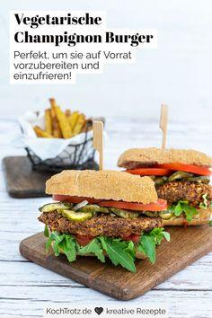 Lust auf richtig leckere, vegetarische Burger? Die Champignon Burger sind so lecker und ganz einfach zu machen! Das Burger-Rezept ist glutenfrei, laktosefrei und vegetarisch. Die Pilz-Patties können gut auf Vorrat zubereitet und vakuumiert oder eingefroren werden. #pilzrezept #burgerrezept
