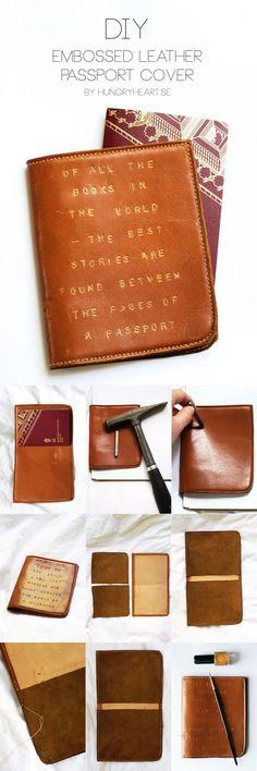 DIY Passfodral i läder med präglat citat | DIY Embossed Leather Passport Cover with Travel Quote