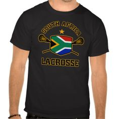 South Africa Lacrosse tee. Flag shield design with crossed sticks. Designs available in both regular and weathered, vintage-style versions. South Africa lacrosse.