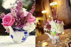 Centro de mesa bule porcelana