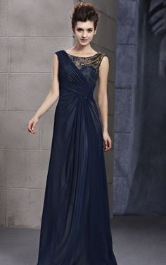 Fine Bateau Sleeveless Long Dark Navy Lace Evening Dress