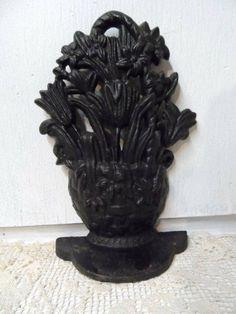 Old Hubley Wicker Flower Basket Cast Iron Door Stop Doorstop