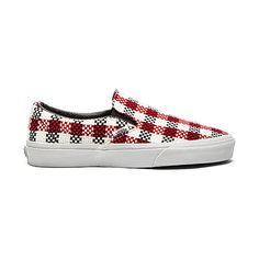 Vans Classic Slip On Checker Plaid Sneaker Shoes (€51) ❤ liked on Polyvore featuring shoes, sneakers, slip on shoes, vans footwear, checkered shoes, woven slip on shoes and tartan shoes